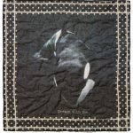 fazzoletto in voile di cotone stampato orca di Massimo Alba